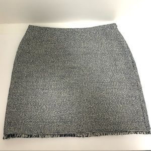 Banana Republic Navy/Ivory Tweed Fringe Hem Skirt